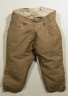Breeches  National Trust Inventory Number 1348772.2 Date1770 - 1780 MaterialsGlazed wool, Hessian, Linen, Satin, Silk, Silk satin, Silk twill, Wool CollectionSnowshill Wade Costume Collection, Gloucestershire (Accredited Museum)