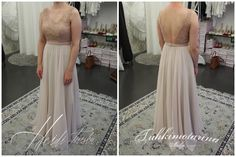 Powder lace and chiffon dress