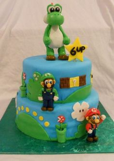 Hand Molded Yoshi Topper For A Two Tier Super Mario Bros Birthday Cake Delivery To The Bronx NY And Luigi