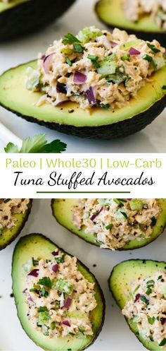 Tuna stuffed avocados are a delicious low-carb, keto, and paleo-friendly. Tuna stuffed avocados are a delicious low-carb, keto, and paleo-friendly lunch or snack recipe. A simple combination of tuna salad and avocado. Paleo Menu, Paleo Recipes, Recipes Dinner, Healthy Avocado Recipes, Simple Healthy Recipes, Snacks Recipes, Keto Snacks, Health Food Recipes, Simple Snacks