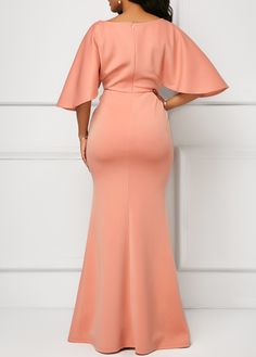 Wrap V Neck Pink Half Sleeve Mermaid Dress African Lace Dresses, Latest African Fashion Dresses, African Print Fashion, Women's Fashion Dresses, Classy Dress, Classy Outfits, Elegant Dresses, Beautiful Dresses, Pink Mermaid Dress