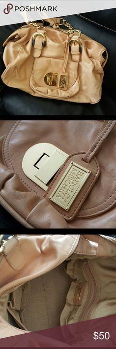 Bagdley Mischka nude bag with gold hardware Beautiful gently love Badgley Mischka nude bag with minimal rubbing on corners. Still plenty of life in this beautiful bag! Badgley Mischka Bags