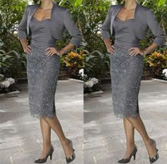 Dark gray Short Mother of the Bride Dress Evening Gowns&Free Jacket Size 8 10+++