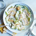 Thinly slice the zucchini with a vegetable