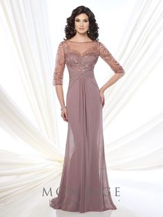 Chiffon and tulle slim A-line gown with hand-beaded illusion three-quarter sleeves and bateau neckline, sweetheart bodice, crisscross ruched empire waist, beaded illusion keyhole back, center gathered skirt, sweep train. Sizes: 4 – 20, 16W – 26W