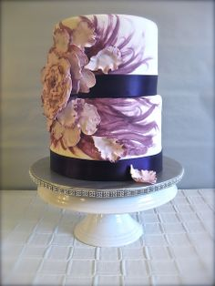 Purple Floral Wedding Cake | Flickr - Photo Sharing!