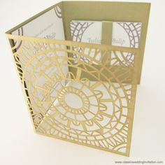 Invitation cards with laser cut design in Moroccan theme, suitable for any wedding style. Multitude of colour options, please call 03 9939 4796.