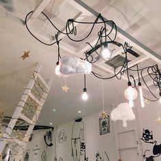 Ladders aan het plafond met lampjes en/of dozen er boven op als extra opbergruimte.