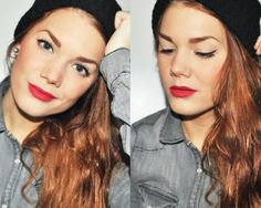 simple, but so pretty. Love the red lip