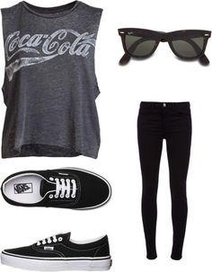 Simple outfit idea- coke cola tee-leggings-vans- glasses-