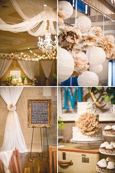 burlap, cake, lantern, balls, pom poms, vintage weddings, wedding vintage, paper, rustic weddings