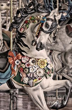 A carousel horse in Mansfield, Ohio — 'Ride a Painted Pony' by Jak of Arts Photography All The Pretty Horses, Beautiful Horses, Simply Beautiful, Carosel Horse, Art Beauté, Wooden Horse, Painted Pony, Merry Go Round, Parcs