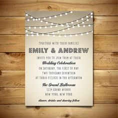 Printable Vintage Style Wedding Invitation Template - String Lights - Brown, Grey & White - Instant Download - Editable MS Word Doc