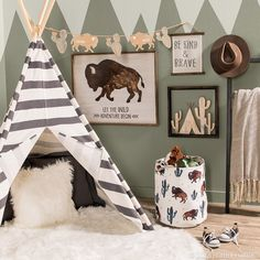 This wild and free space is sure to bring out the adventurer in your little one! Link in bio. Western Nursery, Western Rooms, Woodland Nursery, Cowboy Nursery, Woodland Theme, Room Themes, Nursery Themes, Nursery Room, Nursery Ideas