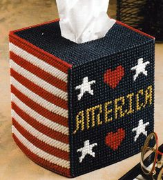 ~ ~Plastic Canvas ** Pattern Only ** ~ American Pride Tissue Box Cover ~ ~ ~ Plastic Canvas Tissue Boxes, Plastic Sheets, Plastic Canvas Crafts, Plastic Canvas Patterns, Needlepoint Patterns, Cross Stitch Patterns, Tissue Box Covers, Tissue Holders, Kleenex Box