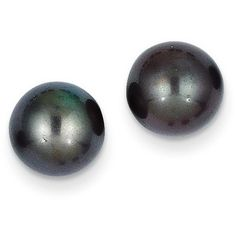 14k Yellow Gold 9-9.5mm Black Round Cultured Pearl Stud Earrings ($68) ❤ liked on Polyvore featuring jewelry, earrings, gold, black earrings, black stud earrings, freshwater pearl earrings, 14 karat gold earrings and cultured pearl stud earrings