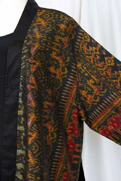 Plus Size Formal Kimono Jacket Silk Ikat Gold Black Burgundy 30/32 Lightweight and perfect for special occasions any time of year.  Simple, elegant, formal, the rustle of silk that echoes Le Smoking of St. Laurent.  Pair with black pants and top from your closet or Made-to-Order for you by us.
