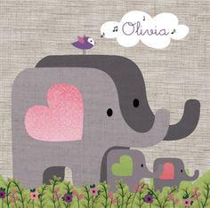 Olivia Geboortekaartje Illustratief olifantjes olifant vogel
