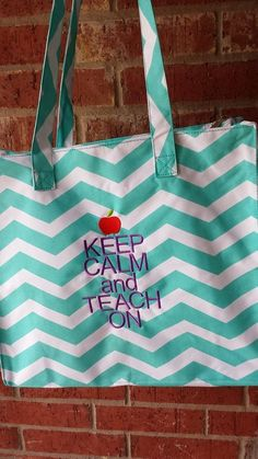 Chevron Teacher Tote Bags: Pink, Aqua, Taupe.  FREE Name Monogram included. on Etsy, $25.00