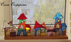Домики из цветного стекла.