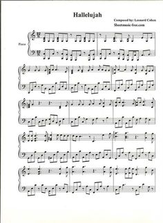 Hallelujah Piano Sheet Music Leonard Cohen Piano Sheet Music Free pdf Download