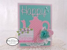 Created using Happy, Party Time,  Happy Sweet Cuts, Tea For Two Sweet Cuts, Party Time Sweet Cuts & Marshmallow Sequins - www.papersweeties.com!  Designed by Debbie Marcinkiewicz.