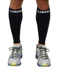 c8b2d7417953 Camari Gear Compression Sleeve (1 PAIR) - For Shin Splints, Calf Strains,  Sports Recovery - Leg Socks For Men and Women - Black - Calf Guard for  Running, ...