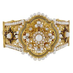 French Napoleon III Enamel Natural Pearl Diamond Bracelet | From a unique collection of vintage more bracelets at https://www.1stdibs.com/jewelry/bracelets/more-bracelets/