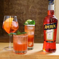 Add 1½ ounces of bourbon (we like Buffalo Trace), 1 ounce of Aperol, ½ ounce of fresh lemon juice and ¼ ounce of maple syrup to a cocktail shaker with ice. Add a dash of Angostura bitters. Shake that all up hard, then strain it into a tall glass with ice.
