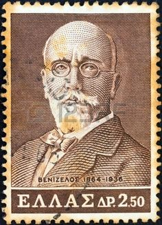 GREECE - CIRCA 1965: A stamp printed in Greece issued for the birth centenary of Eleftherios Venizelos (statesman) shows Eleftherios Venizelos, circa 1965.