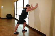 Calves Stretching Exercise Calf Stretch Hands Against Wall Stretching Exercises For Legs, Stretches Before Workout, Calf Stretches, Stretches For Flexibility, Back Exercises, Wall Workout, Leg And Glute Workout, Workout Warm Up, Workout Guide