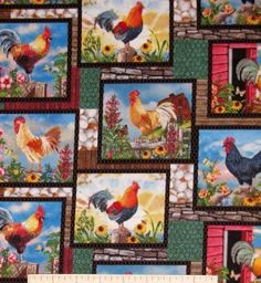 """Fabric part of the """"Cock-A-Doodle-Doo"""" collection.  Fabric has colorful roosters in garden and barn scenes.  Scenes are separated on wood, stone, egg and floral patches. Fabric is sold by the yard.  Purchase multiple yards to receive a continuous length of fabric.  1 yard measures 36"""" x 44/45"""" 1/2 yard measures 18"""" x 44/45"""" 1/4 yard measures 9"""" x 44/45""""  Manufacturer:  Elizabeth's Studio Fabric Designer:  Not listed Theme:  Novelty Fabric General Information:  100% cotton, 44/45"""" wide. New…"""