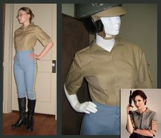 "The shirt itself was pretty simple, it's just a simple body with two darts. There are no visible closures on hers so I used snaps. The sleeves were the interesting part, but when mine were finished they looked dead-on! I am making a printable pattern for this pocket for my tutorial. I also got a better shot of her belt buckle and realized it's pretty much flat, and I can make it myself using some sintra and spray paint. The belt is 2"" wide, dark olive colored I believe."