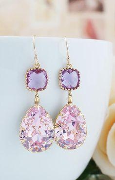 Rosaline Pink and Lavender Swarovski Crystal Earrings from EarringsNation Sweet Pink Weddings