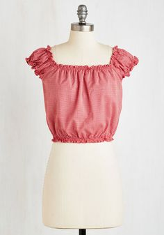 Clambake Cutie Top. Lead the way to the backyard looking cookout-chic in this too-cute gingham crop top! #red #modcloth