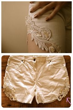DIY Cut Off Jean Lace Shorts. Another easy and pretty tutorial from Clones & Clowns here.