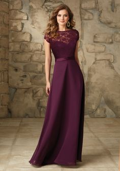 Satin and Chiffon With Illusion Neckline Bridesmaid Dress Designed by Madeline Gardner. Shown in Eggplant.
