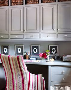 custom cabinet desk area love the drawers above designers Paige Schnell and Doug Davis of Tracery Interiors House Beautiful
