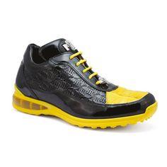 Mauri Bubble 8900/2 Men's Shoes Black & Yellow Exotic Caiman Crocodile / Patent Leather Sneakers...