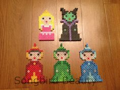 Sleeping Beauty Set, Perler Beads, Disney, magnets, Christmas ornaments, Geekery, Aurora, Maleficent, Flora, Fauna, Merryweather