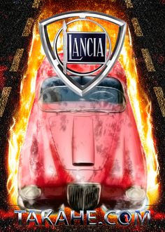 A flaming red Lancia Aurelia is coming in blazing hot.  As of today available as print (without copyright trademark) on a steel plate Disponibile oggi come una stampa (senza marchio) su una piastra di acciaio Seit heute erhältlich als Druck auf Stahlplatte (ohne Takahe copyright)