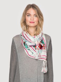 Johnny Was Collection Signature Silk Orchid Scarf