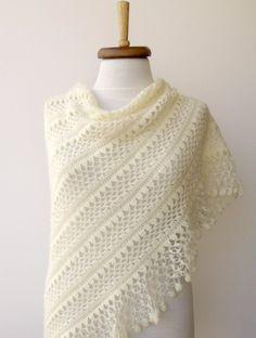 Ivory Bridal CASHMERE Mohair  shawlEXPRESS by knittingshop on Etsy, $69.00