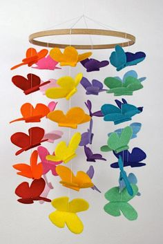 Butterfly felt mobile by dorthy Butterfly Felt, Butterfly Mobile, Butterfly Crafts, Handmade Crafts, Diy And Crafts, Teen Girl Crafts, Craft Ideas For Teen Girls, Mobiles For Kids, Craft Projects