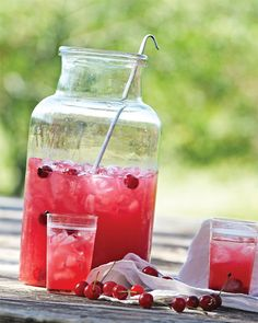 Sour Cherry Lemonade - Martha Stewart Recipes (I made it, it was incredible - but I added Sprite and Vodka to the mix :)