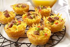 Mexican cheese, ORE-IDA Shredded Hash Brown Potatoes, and sausage make for some Amazing Muffin Cups!