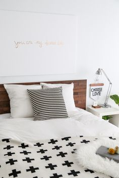Like the idea of upgrading my #bedroom by minimizing the amount of stuff that's in it. #DIY #Ikea #hack #Stikwod #headboard #make #easy #quick #Scandi