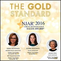 Congratulations to NJ Realtors Circle of Excellence Sales Award 2016 Gold recipients Debra Botwinick and Esther Shayowitz - V & N Realty  Congratulations to Helene Stein recipient of the NJ Realtors Circle of Excellence Sales Award 2016 Bronze. #NJAR #CircleOfExcellence   More Listings. More Experience. More Sales. #teaneck #bergenfield #newmilford #realestate #veranechamarealty #njrealestate #realtor #homesforsale - http://ift.tt/1QGcNEj