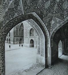 Corner of the central courtyard of the Shah Mosque (now the Imam Mosque) in Isfahan, Iran (Roger Wood, 1969).