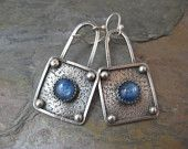 Reserved Sterling Silver square Earrings with Kyanite